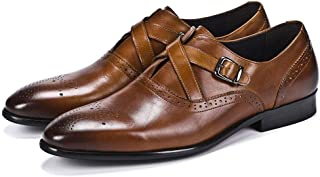 Double Row Buckle Business Oxford Shoes Formal Shoes (Color : Brown, Size : 38)