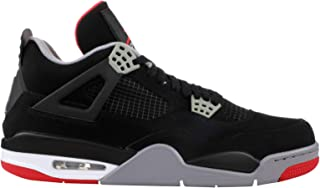 Jordan Men's Air 4 Retro, Black/FIRE RED-Cement Grey-Summit White, Size 10.5