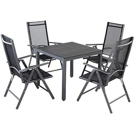 Amazon De Casaria Sitzgruppe Bern 4 1 Aluminium 7 Fach Verstellbare Stuhle Hochlehner Gartentisch Milchglas Gartenmobel Anthrazit