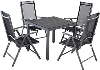 Casaria Conjunto de jardín Bern Negro Juego de 4 sillas y 1 Mesa Exterior Set de Muebles de Aluminio Comedor Interior