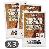 Lot de 3 sachets de Teinture Textile - Beige - teintures universelles pour vêtements et tissus naturels