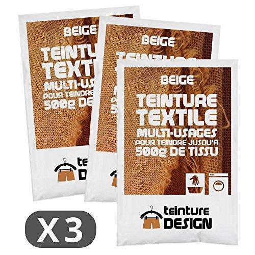 Lot 3 sachets Teinture Textile - Beige - teintures