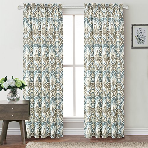 "Home Soft Things Serenta Tivoli Ikat Design Curtain Set, Teal-Aqua, 52"" x 84"""