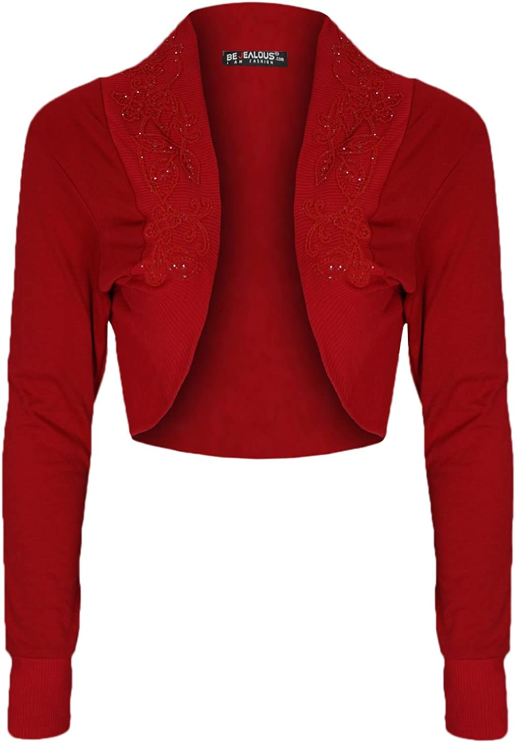 Oops Outlet Women's Diamantes Studded Cotton Bolero Cardigan Shrug Cropped Top