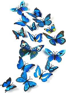 TUPARKA 36 Piezas 3D Mariposa Wall Stickers wall Butterflies Girls Dormitorio Accesorios, Azul