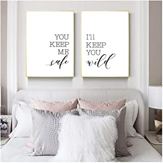 dayanzai You Keep Me Safe I'll Keep You Wild Quote Print Minimalist Rustic Wall Art Love Couple Bedroom Decor Wall Poster Canvas Painting-50x70cmx2Pcs-No Frame