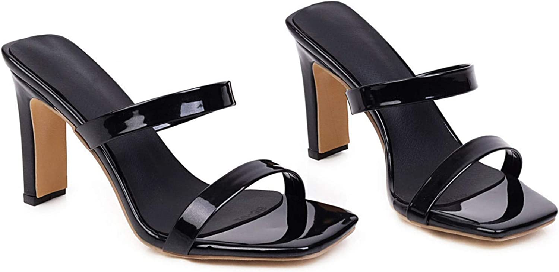 Women's Open Toe Dual Strap Slide Sandals Chunky High Heels Pumps Slip On Dress Mules Slides