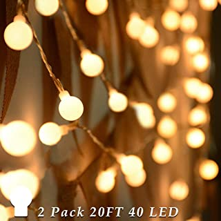 ANJAYLIA Battery Operated Globe String Lights, 20 Ft 40 LED Warm White Globe String Lights Outdoor Decorative Fairy Lights for Christmas Wedding Party