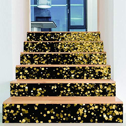 ZXFMTQ DIY 3D Goldener Stern Punkt Treppen Aufkleber Wandbild Mosaik Wohnzimmer Dekoration Flammpunkt Treppen Aufkleber