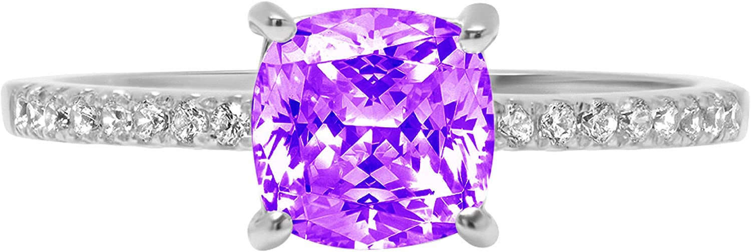 1.63ct Brilliant Cushion Cut Solitaire with Accent Natural Purple Amethyst Gem Stone VVS1 Designer Modern Statement Ring Real Solid 14k White Gold Clara Pucci