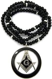 Mens Freemason Masonic Compass Pendant with 6mm/30 Wooden Bead Necklace