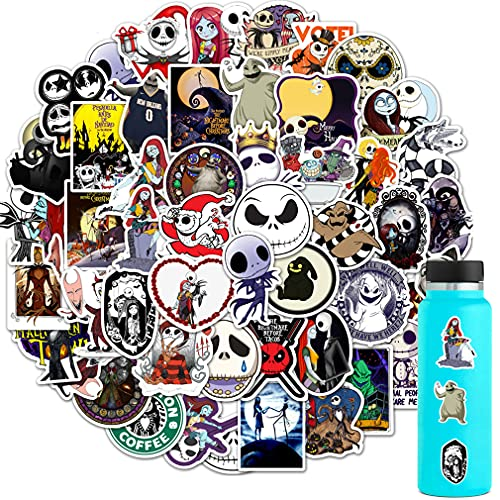 50PCS Nightmare Before Christmas Stickers, Halloween Theme Stickers for Hydro Flask Water Bottle Laptop Computer Skateboard MacBook, Cute Sticker Pack, Waterproof Decal