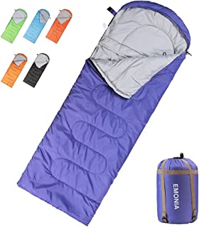 Emonia Camping Sleeping Bag, 3 Season Waterproof Outdoor Hiking Backpacking Sleeping Bag Perfect for Traveling,Lightweight Portable Envelope Sleeping Bags for Adults,Kids,Girls and Boys