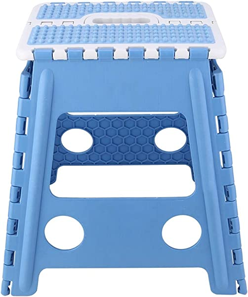 Asixx Folding Step Stool Portable Plastic Folding Stool For Kitchen Bathroom Dining Room Garden Camping Fishing And More Blue