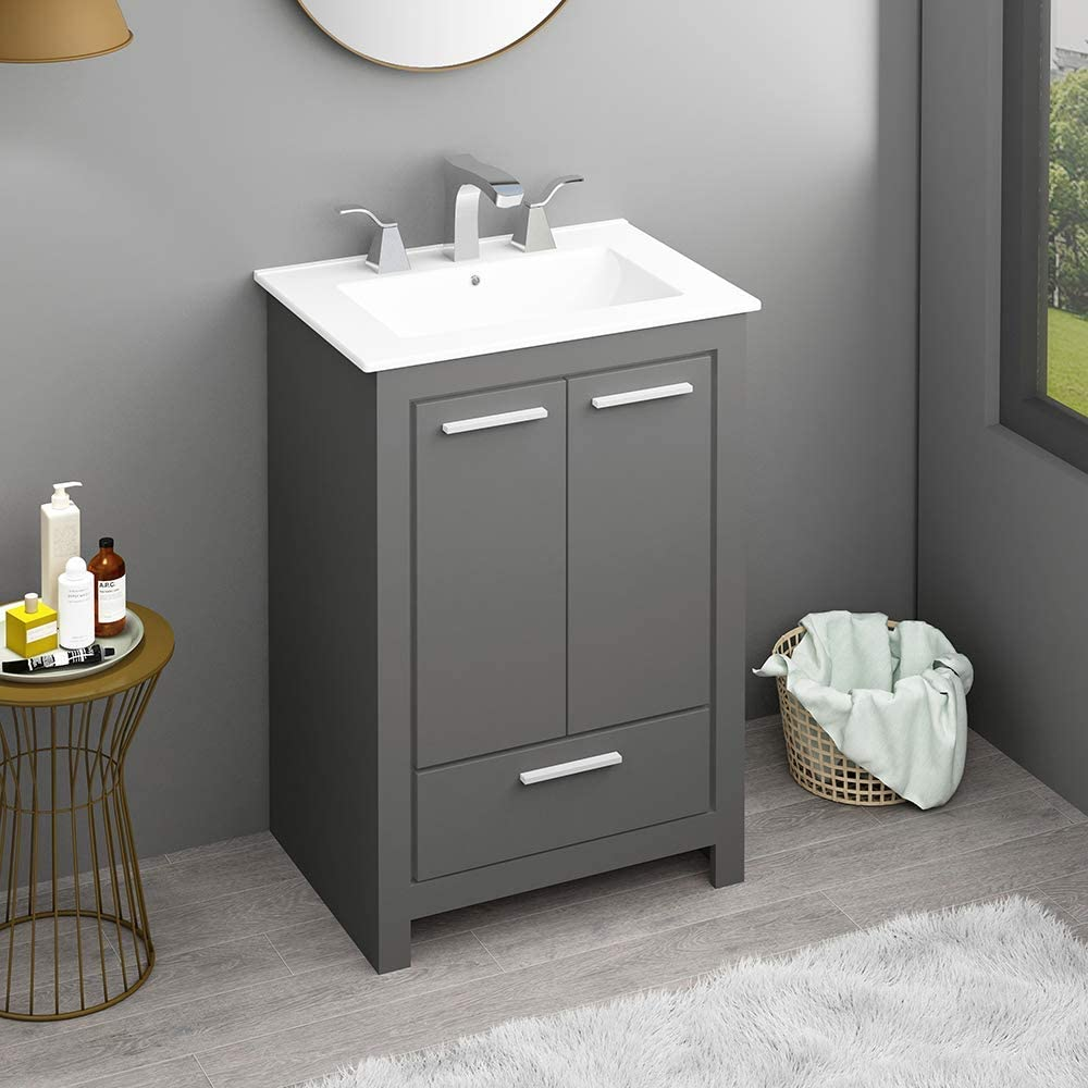 Buy Engelch Modern Small 24 Inch 2 Doors Stand Grey Bathroom Vanity Storage Cabinet With Single Hole Ceramic Vessel Basin Top Vanity Sink Combo Online In Taiwan B08lzcd3sy