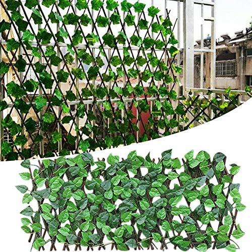 longrep Expanding Trellis Fence, Retractable Fence, Artificial Garden Plant Fence Panels for Garden Fence Backyard Home Decor