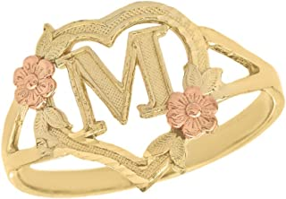 10k Gold Initial Alphabet Personalized Heart Ring - Letter M