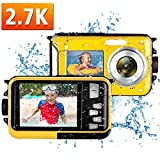 Waterproof Camera Underwater Camera Full HD 2.7K 48MP Waterproof Digital Camera for Snorkeling 16X Digital Zoom Point and Shoot Selfie Dual Screen