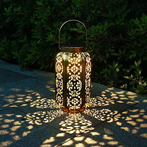 newvivid Solar Lantern Outdoor Decorative Hanging Lanterns Moroccan Metal Lights Yard Decor Waterproof Lamp for Outside Patio Backyard Garden Courtyard Walkway Tree Lawn Party Tabletop (1 Pc)