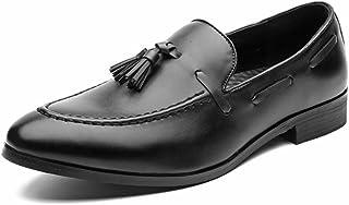パテントレザー メンズビジネスオックスフォードファッションカジュアルスタイル英国タッセルファッションを着て尖った靴と怠惰なカジュアルシューズ フォーマルドレス ドレスシューズ (Color : ブラック, サイズ : 26 CM)