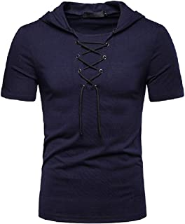 neveraway Mens Hooded Short Sleeve Summer Lace-up Collar Solid Loose Tops