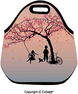 Insulated Lunch Tote,Children Playing on a Tire Swing under Cherry Tree with Dog Blossom Spring Art,for Women Men Kids Boys Girls(11.81x6.29x11.02 inch) Pink Black