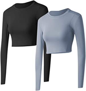2 Pack Women's Yoga Crop Top Long Sleeve with Thumb Hole Fitness