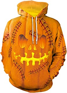 Unisex Realistic 3D Printed Hoodies Casual Halloween Pullover Hooded Sweatshirt with Pockets for Men Women