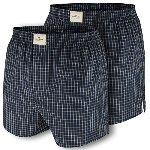 TOM TAILOR Boxershorts, 2er Pack Web Boxer, kariert (XL, darkblue (0664))