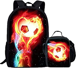 Fire Soccer Ball Backpack Elementary School Student Bookbag Mini Lunch Box Set