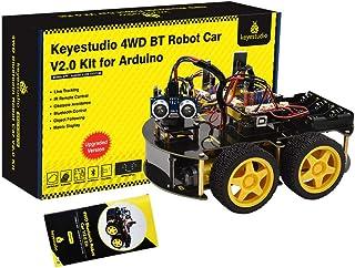 KEYESTUDIO 4WD Robot Car Starter Kit for Arduino UNO R3 Control, Bluetooth IR Remote Control, Line Follow, Ultrasonic Obst...