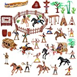Beebeerun Wild West Cowboys and Indians Plastic Figures Playset,Educational Toys Bucket of Native American Indians Plastic Action Soldiers Figurines and Accessories,War Game Toys for Boys,Kids-79PCs