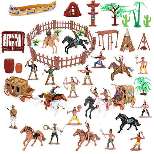 BeebeeRun Wild West Cowboys and Indians Plastic Figures Playset,Educational Bucket Toys of Native American Indians Plastic Action Soldiers Figurines and Accessories,War Game Toys for Kids Boys (79PCS)