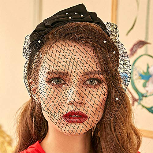 Anglacesmade Bridal Short Veil with Pearl Headband 1920s Birdcage Mesh Veil for Wedding Vintage Silk Fascinator