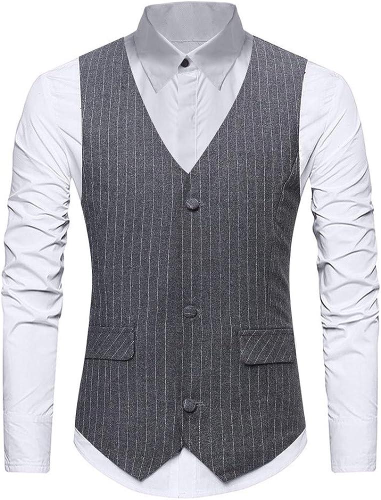 MODOQO Men's Formal Waistcoat Slim Fit Stripe Business Office Wedding Tuxedo Suit Vest