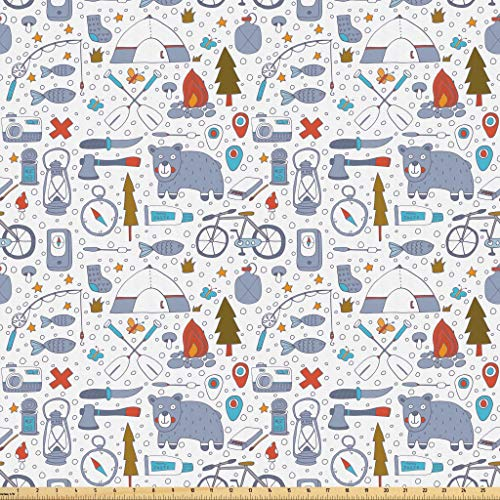 Lunarable Camping Fabric by The Yard, Cartoon Bear Tent and Compass Outdoor Hobby Theme Hiking Doodle, Microfiber Fabric for Arts and Crafts Textiles & Decor, 1 Yard, Vermilion Bluegrey