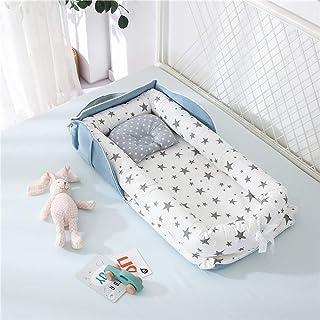 Luddy ベビーベッド 新生児 枕付き ベッドインベッド 折りたたみ式 携帯型ベビーベッド 添い寝 ポータブル 出産祝い 通気性抜群 洗濯可能 0-24ヶ月 ブルー 85*45*12cm