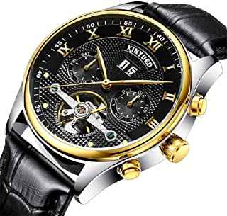 KINYUED Men Automatic Mechanical Watch Luminous Luxury Brand Leather Business Fashion Casual Self-Wind Stainless Steel Spo...