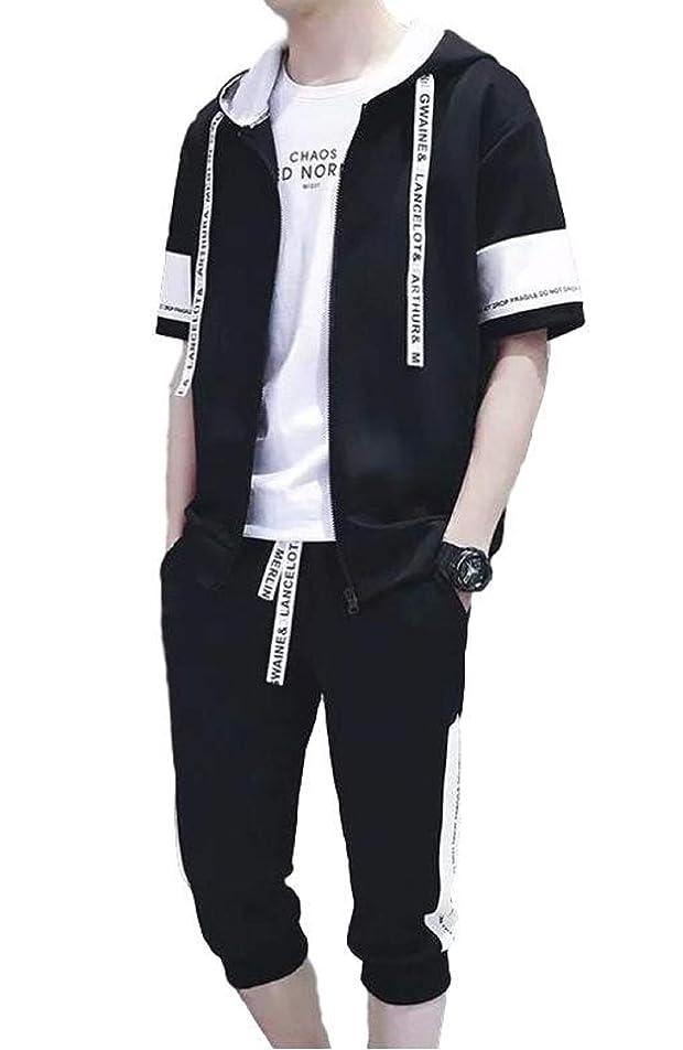 チーフ服を着るベックス[アルトコロニー] 上下セット ジャージ 半袖パーカー ジップアップ フード付き 七分 ハーフパンツ お洒落 M ~ XL メンズ