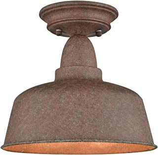 Rustic Metal Barn Ceiling Light Retro Semi Flush Mount Ceiling Lighting Fixture