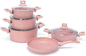 طقم قدور جرانيت للطبخ مع غطاء زجاجي لون زهري - BO1