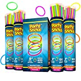 """Glow Sticks Bulk Party Favors 400pk - 8"""" Glow in the Dark Party Supplies, Light Sticks Neon Party Glow Necklaces and Bracelets for Kids or Adults"""