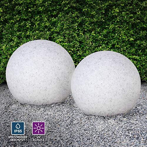 Kugelleuchte aussen, Gartenlampe 2er Set Ø50cm, Stein-Optik | Außenleuchte spritzwassergeschützt | Gartenleuchte, E27-Fassung | Kugellampe mit Erdspieß