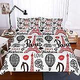 Frankreich Love Girls Bettbezug Set Paris Tower Ballon Weiß Bettwäsche Set Single Double Für Jugendliche Erwachsene 135X200Cm