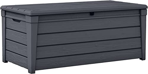 Keter Brightwood 120 Gallon Resin Large Deck Box for Patio Garden Furniture, Outdoor Cushion Storage, Pool Accessorie...