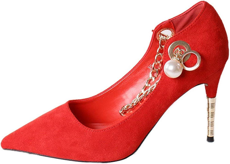LBTSQ-Wildleder High Heels High Heels 9Cm Mode Perlen-Kette Temperament Spitze Flachen Einzelne Schuhe Braut-Schuhe