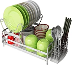 Dish Rack, 304 Stainless Steel Kitchen Shelf, Tableware Storage Rack - with Drain Tray for Kitchen, Storage