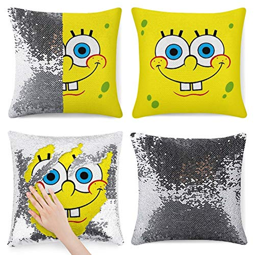 Spongebob Sequin Throw Pillow Cover,Reversible Sequin Pillow Case,Magic Mermaid Decorative Cushion Cover, Glitter Accent Pillow, Funny Gifts silver-style11 One Size