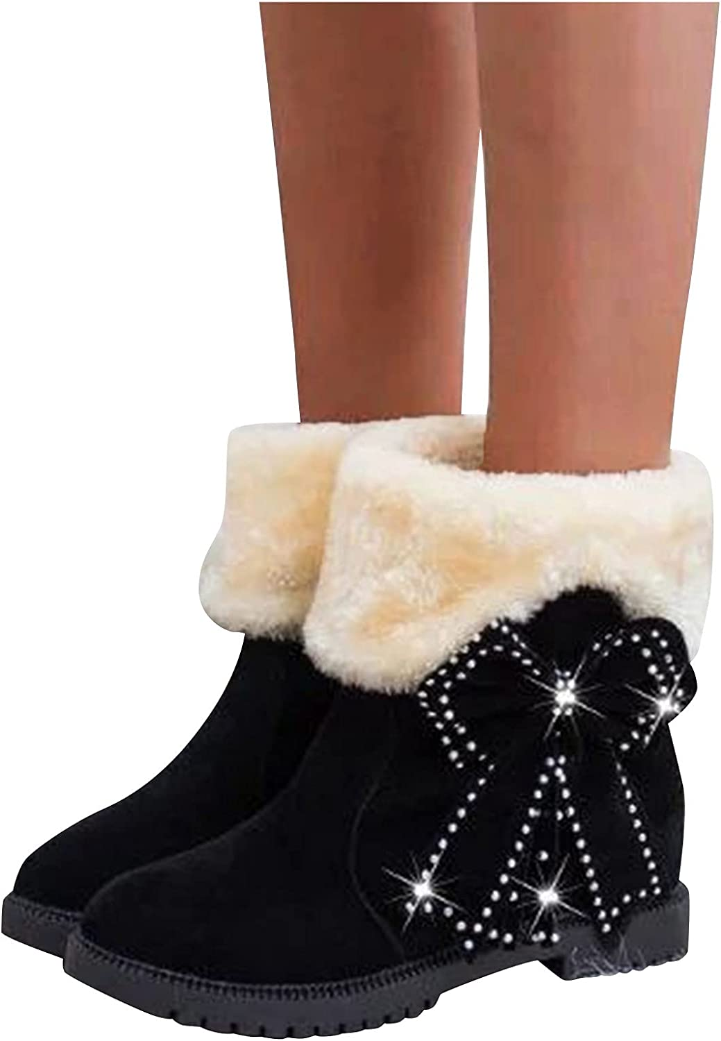 Woolkey Women's Winter Mid Calf Boots Retro Fashion Western Non Slip Bowknot Ankle Boots Round Toe Platform Chunky Heel Waterproof Snow Boots for Ladies Trekking Travel Dating (Black, 10)