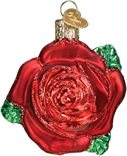 Old World Christmas Glass Blown Red Rose Ornament #36251